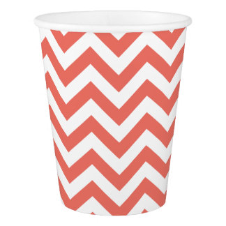 Stylish Coral Unicolor Chevron Pattern GPB01C Paper Cup