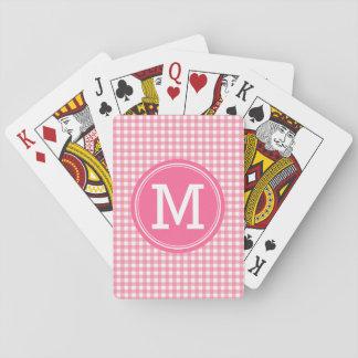 Stylish Country Gingham Pink Monogram Poker Deck