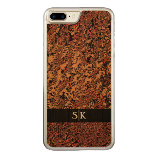 Stylish Crackled Pattern Monogram Artisan Carved iPhone 8 Plus/7 Plus Case