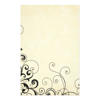 Stylish cream with black swirls paper stationery