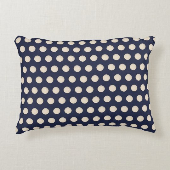 Stylish Creamy White Beige Dot Blue Background Decorative Pillow
