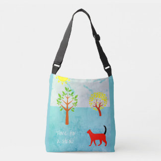 Stylish Crossbody Bag with Summer Cat Illustration