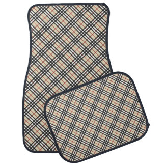 Stylish Crossed Plaid Check Pattern Car Mat