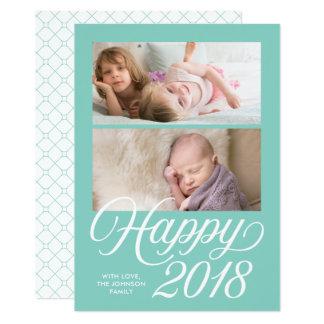 Stylish Cursive  Happy 2018 New Year Holiday Photo Card