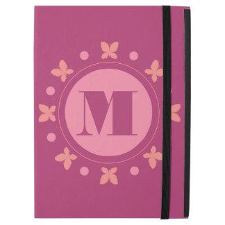 "Stylish Cute Girly Butterflies Monogram | Magenta iPad Pro 12.9"" Case"