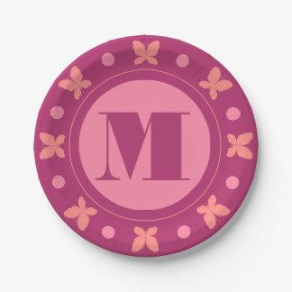 Stylish Cute Girly Butterflies Monogram | Magenta Paper Plate