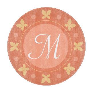 Stylish Cute Girly Butterflies Monogram | Orange Cutting Board