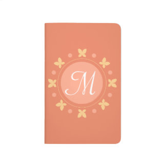 Stylish Cute Girly Butterflies Monogram | Orange Journal