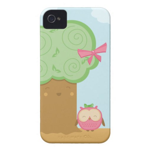 Stylish cute kawaii tree and owl blackberry bold Case-Mate blackberry case