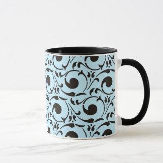 Stylish Damask Blue Black Swirls Pattern Mug