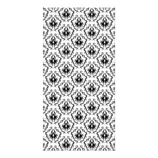 Stylish Damask Design in Black and White. Picture Card