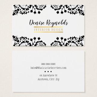 STYLISH DAMASK elegant lace gold black white Business Card