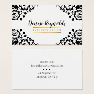 STYLISH DAMASK elegant vintage gold black white Business Card