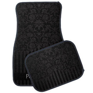 Stylish Damask in a Black Print | Personalize Car Mat