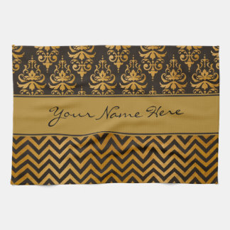 Stylish Dark Brown and Gold Damask and Chevrons Kitchen Towel