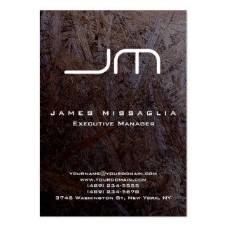 Stylish Dark Brown Wood White Monogram Large Business Card