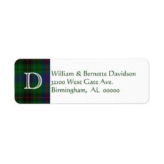 Stylish Davidson Plaid Monogram Custom Labels