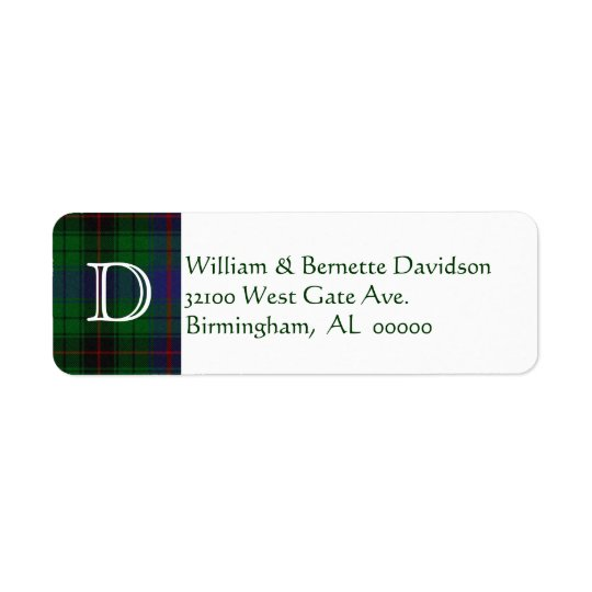 Stylish Davidson Plaid Monogram Custom Labels