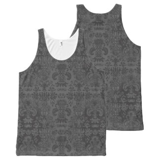 Stylish-Day-to-Night-Gray-Damask-Women's-Tank-Top All-Over-Print Tank Top