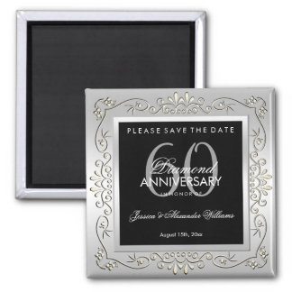 Stylish Decorative Silver 60th Wedding Anniversary Magnet