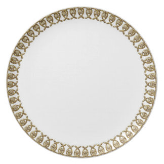 """Stylish Designs"" Deep Gold Border Party Plates"
