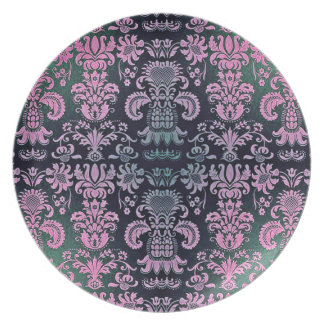 """""""Stylish Designs"""" Embroidered Damask* Plate"""