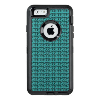 Stylish-Double-Rose's-Teal-Floral-Apple-Samsung OtterBox Defender iPhone Case