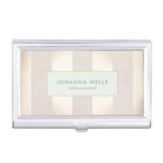 Stylish Elegant Beige Linen and Gold Striped Business Card Holder