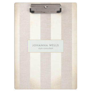 Stylish Elegant Beige Linen and Gold Striped Clipboard