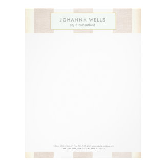 Stylish Elegant Beige Linen and Gold Striped Letterhead