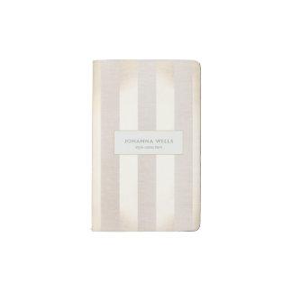 Stylish Elegant Beige Linen and Gold Striped Pocket Moleskine Notebook