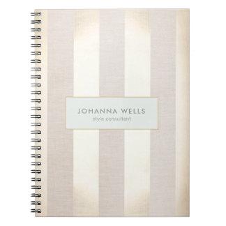 Stylish Elegant Beige Linen and Gold Striped Spiral Notebook