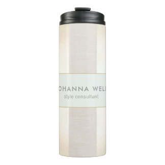 Stylish Elegant Beige Linen and Gold Striped Thermal Tumbler