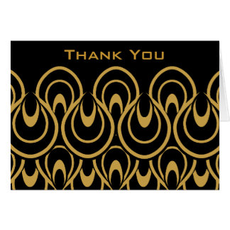 Stylish & Elegant Black & Gold Art Deco Thank You Card