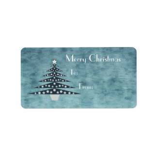 Stylish & Elegant Blue Christmas Tree Label