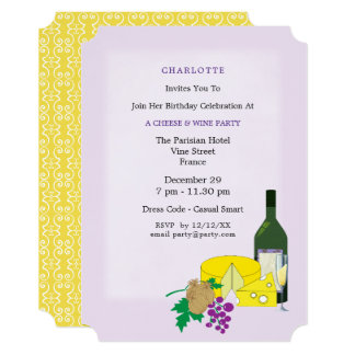 Stylish Elegant Cheese & Wine Party Invitation