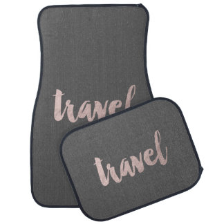 "stylish elegant faux rose gold text ""travel"" car mat"