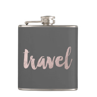"stylish elegant faux rose gold text ""travel"" hip flask"