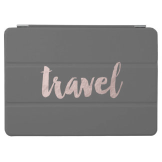 """stylish elegant faux rose gold text """"travel"""" iPad air cover"""