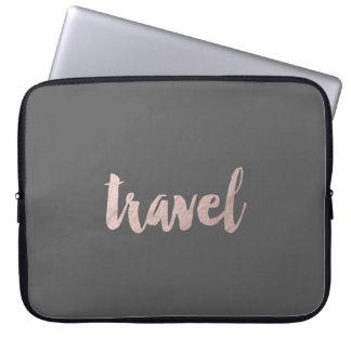 """stylish elegant faux rose gold text """"travel"""" laptop sleeve"""