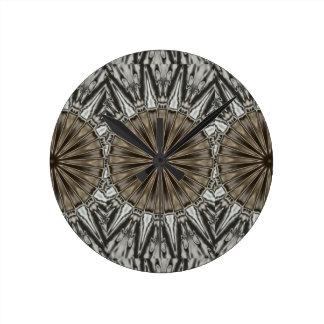 Stylish Elegant Kaleidoscope Design Brown Gray Wallclock
