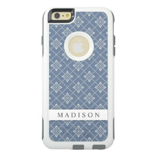 Stylish Elegant Vintage Blue Gray Floral OtterBox iPhone 6/6s Plus Case