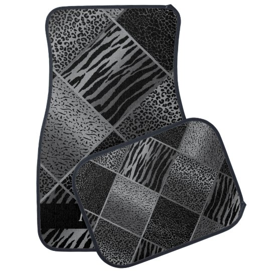 Stylish Exotic Animal Patterns   Grey & Black Car Mat