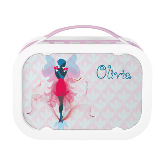 Stylish Fairy girly silhouette illustration Lunch Boxes