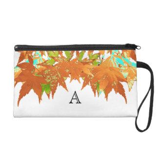 Stylish Fall Gold Japanese Maple Leaves Monogram Wristlet
