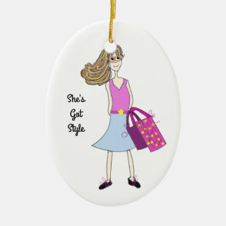 Stylish Fashion Girl Ceramic Oval Ornament