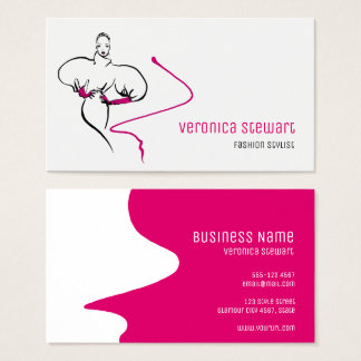 Stylish Fashion Illustration Pink Business Business Card