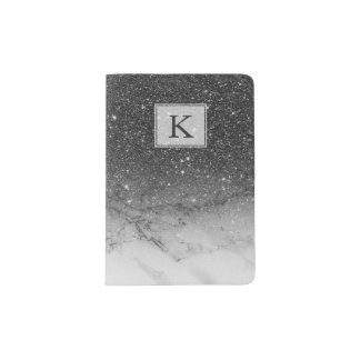 Stylish faux black glitter ombre white marble passport holder