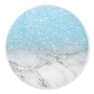 Stylish faux blue glitter ombre white marble ceramic knob