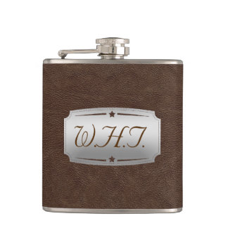 Stylish Faux Brown leather Print personalized Flask
